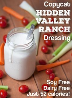 Copycat Hidden Valley Ranch Dressing - Dairy Free, and only 52 calories! All you need is 5 minutes and a blender. Copycat Hidden Valley Ranch Dressing - Dairy Free, and only 52 calories! All you need is 5 minutes and a blender. Dairy Free Diet, Dairy Free Recipes, Raw Food Recipes, Gluten Free, Dairy Free Meals, Soy Free Foods, Dairy Free Veggie Dip, Dairy Free Dressing Recipes, Dairy Free Breakfasts