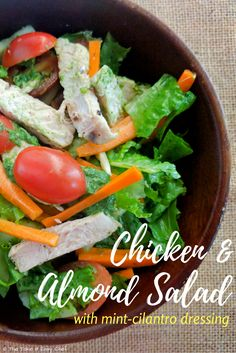 This Chicken and almond salad with mint-cilantro dressing is ideal for a quick, weeknight dinner, and makes it a healthy, yet tasty and satisfying meal. Top Recipes, Indian Food Recipes, Easy Recipes, Sweets Recipes, Drink Recipes, Healthy Salad Recipes, Easy Healthy Dinners, Cilantro Dressing, Man Food