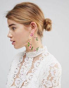 ASOS DESIGN statement floral garden drop earrings