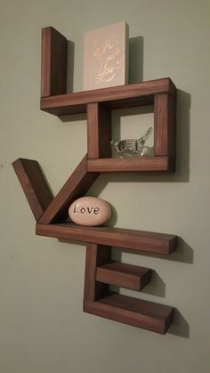 Wall Mounted Love Shelf by StiefelWoodDesign on Etsy
