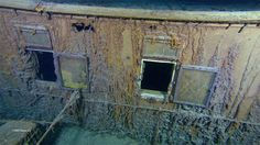 Photo of windows of stateroom W and U from first class cabins from Titanic wreck (credit: AP)