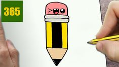 HOW TO DRAW A PENCIL CUTE, Easy step by step drawing lessons for kids