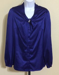 East 5th Women's Royal Blue Silky Look & Feel Long Sleeve Blouse Size M NWT #East5th #Blouse #Casual