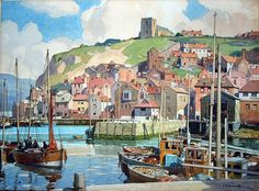 WHITBY BAY, YORKSHIRE. Fine Watercolour by Leonard Squirrell