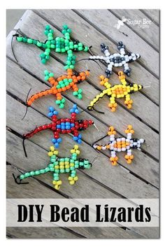 fun summer kids craft!!  Pony Bead Lizard Tutorial - Sugar Bee Crafts