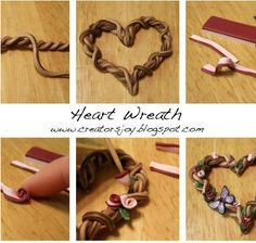 Heart Wreath Polymer Clay Decoration by Meg Newberg