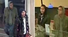 Two security-camera images of men who prosecutors say used Joshua Rubin's credit cards hours after his body was found.