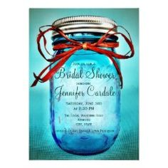Blue Mason Jar Country Bridal Shower Invitations