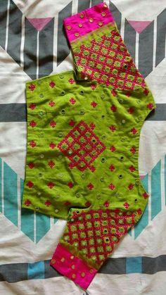 To order please whatsapp on 9618821933 Pattu Saree Blouse Designs, Blouse Designs Silk, Bridal Blouse Designs, Simple Blouse Designs, Stylish Blouse Design, Kutch Work Designs, Hand Work Design, Hand Embroidery Dress, Machine Embroidery
