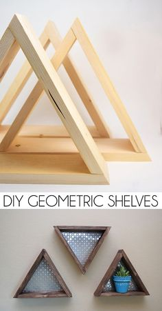 Easy Woodworking Projects - DIY Geometric Shelves - Cool DIY Wood Projects for Beginners - Easy Project Ideas and Plans for Homemade Gifts and Decor wood crafts crafts design crafts diy crafts furniture crafts ideas Wood Projects For Beginners, Diy Wood Projects, Easy Projects, Project Ideas, Diy Wood Crafts, Wood Working For Beginners, Easy Woodworking Projects, Woodworking Furniture, Diy Furniture