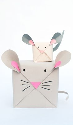 DIY Mouse Gift Wrap - This is especially cute if you have multiple gifts of varying sizes, then, you can create a whole family of adorable stacked mice! / Handmade Charlotte