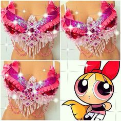 Powerpuff Girls Blossom Rave Bra by TheLoveShackk on Etsy, this would be a cute for a group theme for EDC! Diy Halloween Costumes For Girls, Rave Costumes, Cool Costumes, Rave Festival Outfits, Rave Outfits, Festival Wear, Electric Daisy Carnival, Orlando Florida, Power Puff Costume