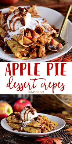 This Apple Crepes recipe is perfect for fall. The thin french pancakes are filled with a gooey caramel apple compote with toasted cinnamon pecans. These apple pie crepes make the perfect treat any time of the day. Top them with vanilla ice cream for dessert crepes that everyone will be talking about! Get the easy recipe at TidyMom.net #crepes #apple #applepie #appledessert