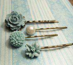 Gluing/attaching pieces to bobby pins!   FREE SHIPPING  First Love  Hair Pin Set  by CMVISIONJewelry, $15.80
