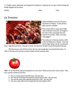 Writing activity for La Tomatina in Buñol, Spain & Link to video
