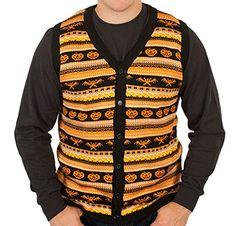 Spooky Halloween Sweater Vest in Black By Festified (2X-Large)