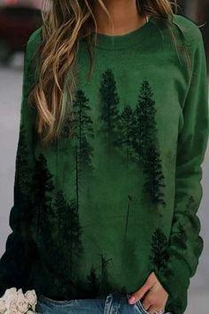 Misty Forest Gradient Landscape Print Vintage Sweatshirt – immorgo Online Clothing Stores, Online Shopping Clothes, Online Clothes, Women's Clothes, Landscape Prints, Misty Forest, Printed Sweatshirts, Women's Sweatshirts, Pattern Fashion