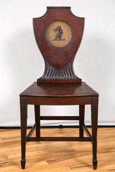 Bon Distinctive Pair Of English Regency Era Painted Mahogany Hall Chairs