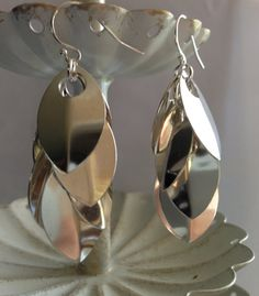 Dangle Earrings Sterling Silver Chainmaille by LizLevineStudios, $60.00