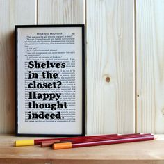 Pride and Prejudice Quote Shelves in the Closet Framed Vintage Book Page