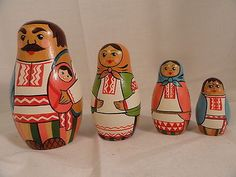 Set of 4 USSR Russian Nesting Dolls Ukrainian or Mexican Clothing | eBay