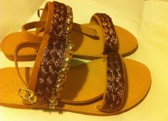 Bronze and Gold Summer Fun Leather Sandals by NILYBohoChic on Etsy