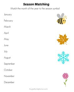 Use this free printable pack to teach your kids the seasons and months of the year. This printable pack include season cards, months matching game and more. Calendar Skills, Calendar Activities, Seasons Of The Year, Months In A Year, Seasons Activities, Reading Fluency, Preschool Science, Matching Games, Lesson Plans