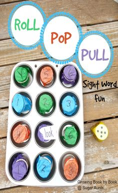 """Roll Pop and Pull Sight Word Game. Literacy game for new readers. This is a great DIY spelling word and sight word game to prevent the """"summer slide""""!"""