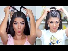Peinados faciles con trenzas 2018 / easy hairstyles with braids 2018 Cool Hairstyle, Hairdo For Long Hair, Very Short Hair, Pin Up Hair, Wedding Bun Hairstyles, Ponytail Hairstyles, Straight Hairstyles, Braided Hairstyles, Braiding Your Own Hair