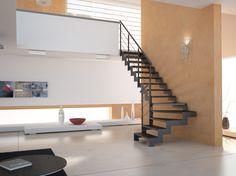#Escalier - Quart tournant, limons latéraux, marches en bois, structure en acier. Découvrez les réalisations d'escaliers de L'Échelle Européenne sur www.escaliers-echelle-europeenne.com