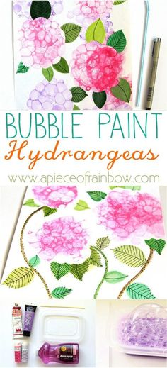 So Easy and Fun!! Make Bubble Paint Flower Hydrangeas + Bubble Paint Recipe!   - A Piece Of Rainbow