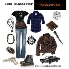 """""""Dean Winchester"""" by rubylebeau on Polyvore (I have a mighty need for that blue plaid shirt right now!)"""