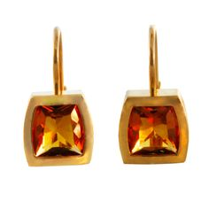 Cartier simple yet chic citrine and 18K yellow gold drop earrings, circa 1990s