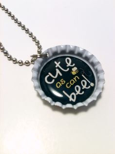 Cute as a Bee bottle cap necklace by LillypadPark on Etsy, $4.95