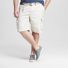 Men's Big & Tall Belted Cargo Shorts - Mossimo Supply Co. Tan 52
