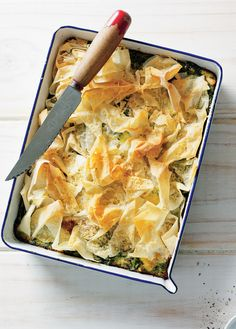 Spinach and feta family pie recipe from Tiffiny's Lighten Up Cookbook by Tiffiny Hall | Cooked