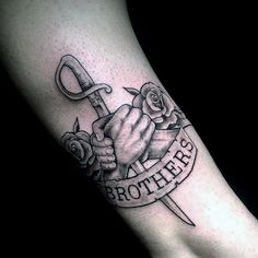 Awesome Sword Brothers Banner Tattoo On Gentleman                              …