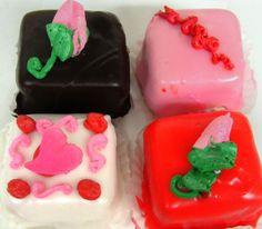 Valentine's day mini almond raspberry cakes from Mueller's Bakery!
