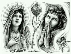 Virgin Mary Sacred Heart n Jesus Tattoo Design photo - 1 Tattoo Sketches, Tattoo Drawings, Tattoo Studio, Jesus Tattoo Design, Mary Tattoo, Christ Tattoo, Chest Piece Tattoos, Chicano Tattoos, Christian Tattoos