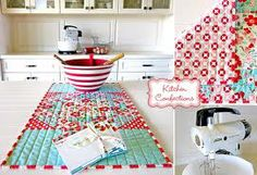 white kitchen, red & turquoise accents
