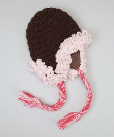 Look at this Marili Jean Brown Powderpuff Earflap Beanie on #zulily today!