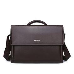 Unives Classic Men's Leather Briefcase Messenger Bag Shou…