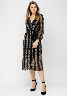 Brand: Style Code: Colour: BLA Sleeves: Long Sleeves Features: Leopard striped print, elasticated waist, faux design with a fabri Stripe Print, Wrap Dress, Long Sleeve, Fabric, Sleeves, Color, Black, Dresses, Design