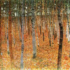 Birch Forest, 1902, Gustav Klimt. Klimt seems to have felt tranquil in the middle of forests. Although the trunks are cut off by the top of the canvas, the composition is not claustrophobic. Rather, the trees reach up to the sky like columns in a cathedral created by nature. Rather than dwell on the mysterious, dark nature of the forest, Klimt has chosen an apparently autumnal scene, where the colors of the leaves naturally tend towards the golden tones he favored.