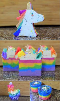 Handmade Rainbow Unicorn Soaps, Bath Bombs, Bubble Bath and more from Virtuous Wife Boutique