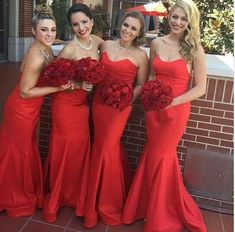 9c4fb0f2de7e Red Strapless Sweetheart Neckline Mermaid Floor Length Satin Bridesmaid  Dress. Abiti Da Sirena Damigella ...