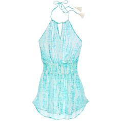 Victoria's Secret Halter Cover-up Dress ($60) ❤ liked on Polyvore featuring swimwear, cover-ups, swim, halter top, swim cover up, neck ties, retro halter top and neck-tie