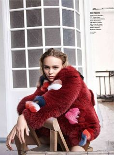 Lily-Rose Deep for Vanity Fair France May 2016 - Fur Jacket | Patched Fur | Multicolor | Fashion Fur
