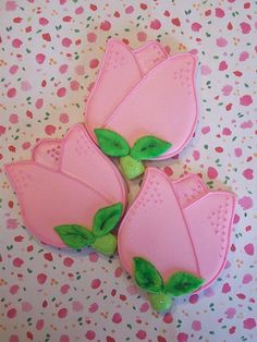 Fancy decorated tulip shaped sugar cookies