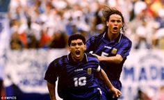 Record holder: Diego Maradona hit the last of his 34 international goals against Greece in the 1994 World Cup.